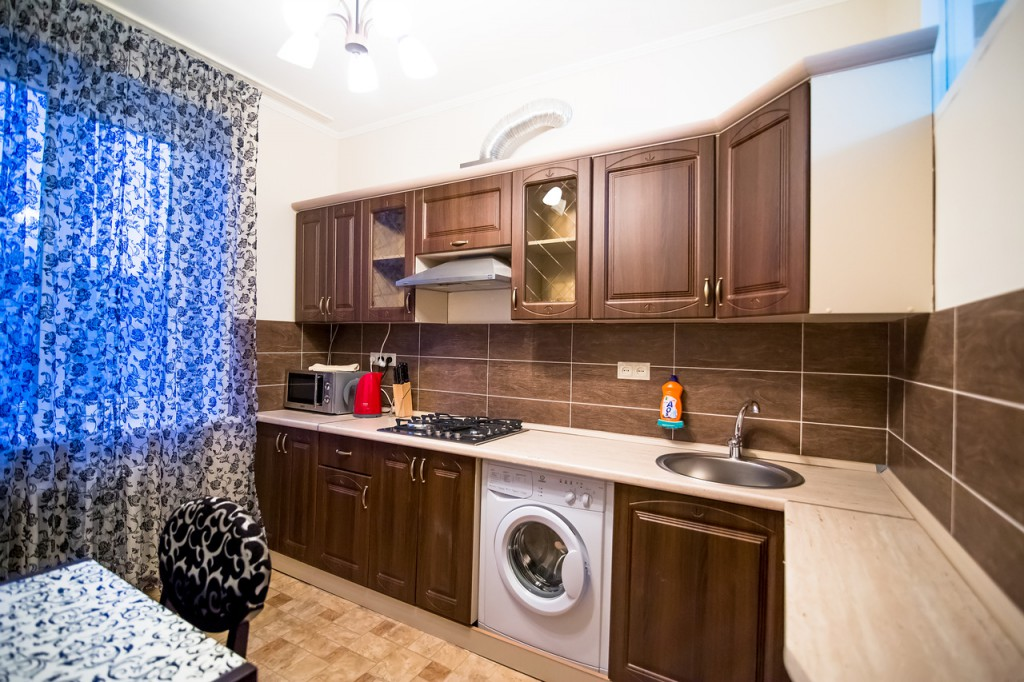 Fully Equipped Kitchen With A Washing Machine Russian Rent